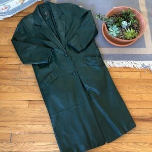 Vintage Leather Full Length Trench Coat